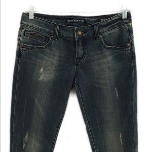 Express Rerock Skinny Crop Jeans SZ 28 Distressed